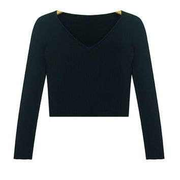 V-Neck Cropped Sweater in Multicolor