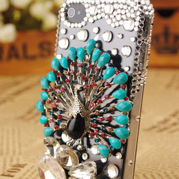 iPhone4 3GS Peacock Crystals Transparent Cover: gulleitrustmart.com