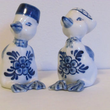 Delft Blue Salt and Pepper Shakers Dutch Holland