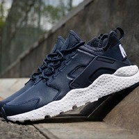 nike air huarache casual running sport shoes sneakers dark blue