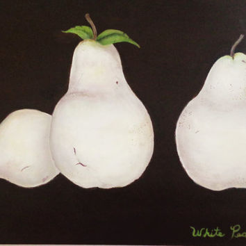 Large White Pears, mixed media painting. Expresso wall art. Original artwork on canvas.