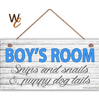 "BOY'S ROOM Sign, Snips and Snails, Boy's Room Decor, Nursery, Boy's Door Sign, 5"" x 10"" Sign, Room Plaque, Birthday Gift,  Made To Order"