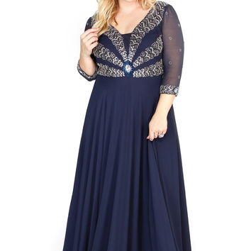 Embellished Long Sleeve Illusion Navy Fit To Flare Prom Dress  71195