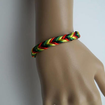 Reggae, One Love, Ragga Muffin, Bracelet Armlet Wristband Friendship Band Bob Marley Rasta  Men Women Boyfriend Girlfriend matching Set Gift