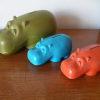 Vintage Henri Hippo Hippopotamus Coin Money Bank Set of 3 Mid Century Modern 60s Orange, Green, Turquoise