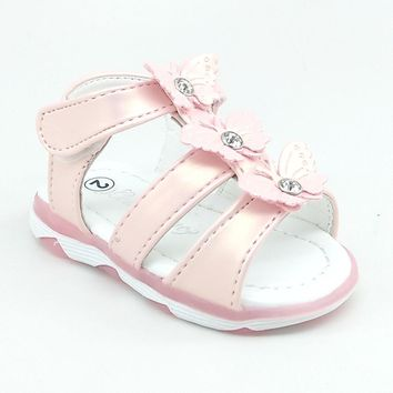Baby Pink LED Sandal with Hook and Loop Strap and Butterfly Details