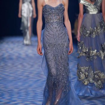 Marchesa Beaded Illusion Column Gown, Smoke