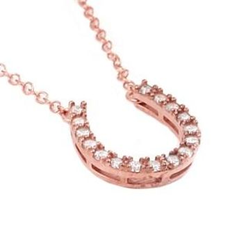 "ROSE GOLD PLATED CZ HORSESHOE NECKLACE 16"" + 2"""