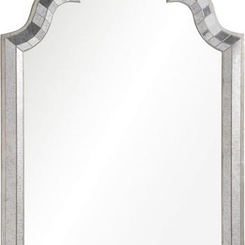 Quick Overview:Antiqued Mirror Framed Mirror With Antiqued Silver Leaf Sides