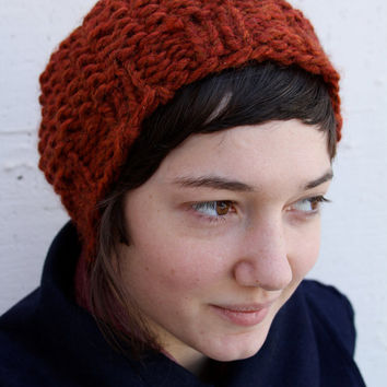 Hand Knit Slouch Chunky Hat Spice Burnt Orange by WindyCityKnits