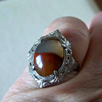 Vintage Art Deco Moss Agate Ring Sterling Silver LSP Co Size 6