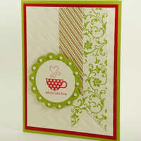 Any Occasion Handmade Card Sending A Whole Latte Love Green Red Floral