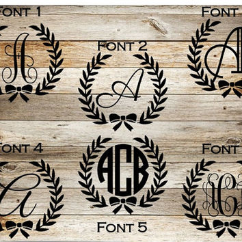 Floral Bow Monogram Decal, Yeti Decal, Monogram Decal, Bow Decal, Car Decal, Initial Decal, Circle Monogram, Vine Monogram