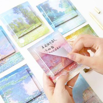 1X Oil painting Sticky Notes Post It Stickers Scrapbooking Diary Stickers Planner Memo Pads Office Stationery School Supplies