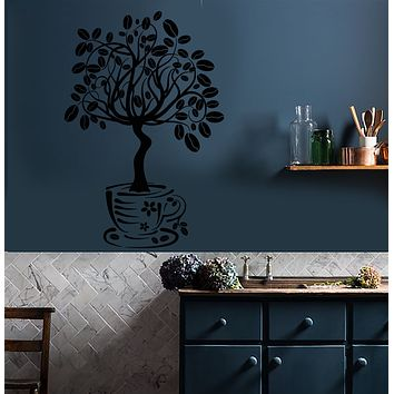 Vinyl Wall Decal Coffee House Tree Coffeeshop Kitchen Decor Stickers (3402ig)
