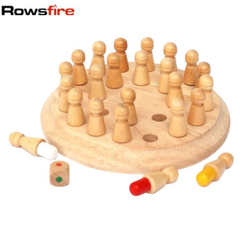Rowsfire Kids Memory Match Stick Chess Wooden Chess Checkers Board Game Baby Toy Educational Toys