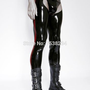 Latex Tight Chaps Rubber Men Jeans Open Hips Sexy Latex Rubber Jock Pants Long Trousers Men's Sexy Latex Pants