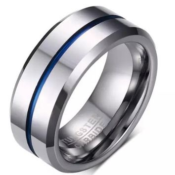 2017 NEW Fashion Thin Blue Line pure Tungsten Ring Wedding 8MM Tungsten Carbide high quality Jewelry for Men BR-W070