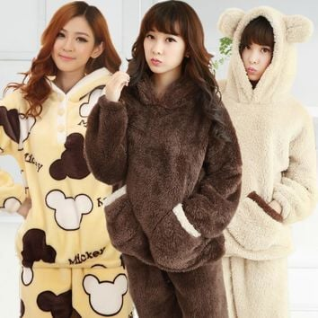 XXXL Autumn Winter Women pijama cute thick wool plush pajamas polar bear fleece thermal pyjamas couple pajama sets women and men