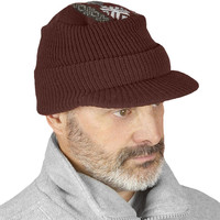 Knitted Nordic Form Fitting Warm & Comfortable Hats W/ Visors, Brown