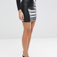 ASOS Sculpt Me Leather Look Mini Skirt at asos.com