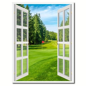 Vancouver Canada Golf Course View Picture French Window Canvas Print with Frame Gifts Home Decor Wall Art Collection
