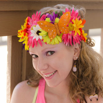 Sunflower Daisy Butterfly Flower Crown, Flower Headband, Festival Wear, Electric Daisy Carnival, Burning Man, Electric Forest Festival, PLUR