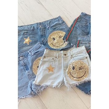 Sojara Levis Denim Smiley Face Shorts