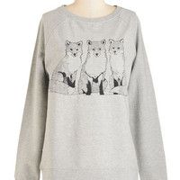 ModCloth Critters Mid-length Long Sleeve Sweatshirt Trio of Tricksters Sweatshirt