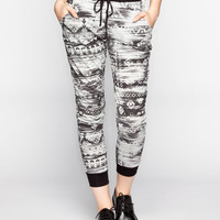 Full Tilt Ethnic Print Womens Jogger Pants Grey  In Sizes