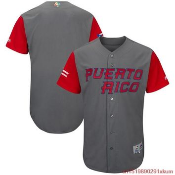 MLB Men's Puerto Rico Baseball Baseball Gray/Red 2017 World Baseball Classic Cool Base Authentic Team Jersey