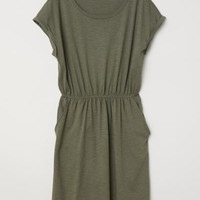 Jersey dress - Khaki green - Ladies | H&M GB
