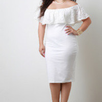 Women's White Lace Off Shoulder Dress In Plus Sizes