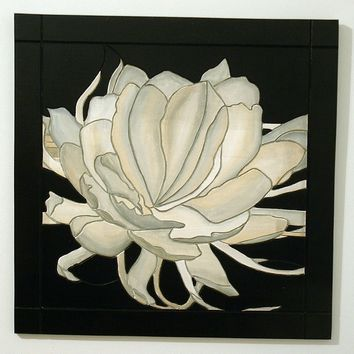 Wall Art, White Flower, Wood Wall Decor, Minimalist Wall hanging