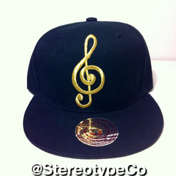 Gold Music Note Snapback