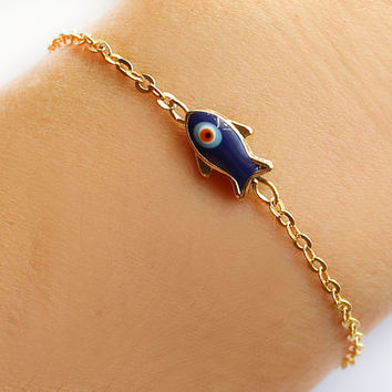 Evil eye bracelet handmade fish evil eye gold plated chain dainty bracelet istanbul turkey ethnic mother gift best friend birthday gift