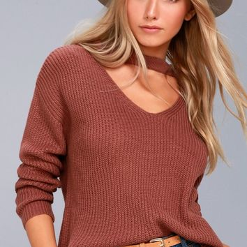 Lost + Wander Madison Washed Mauve Cutout Sweater