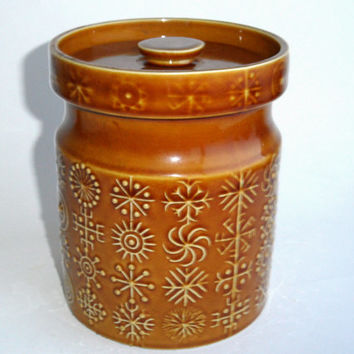 Portmeirion Totem Tan Biscuit Barrel, Storage Jar, design by Susan Williams-Ellis 1960s