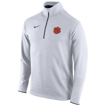 Clemson Tigers Nike Football Coaches Sideline Half Zip Knit Performance Jacket – White