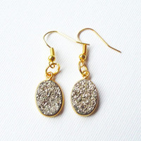 Silver Stone Druzy on Gold Framed  Earrings, Silver Oval Sparkly Drusy Druzzy Agate  Gold Dangle