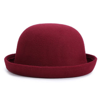 Burgundy Roll Up Brim Wool Hat