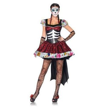 Mexican Day Of The Dead Cosplay Sexy Costumes Halloween Skeleton Vampire Mini Dress Ghost Bride Fancy Dress For Women