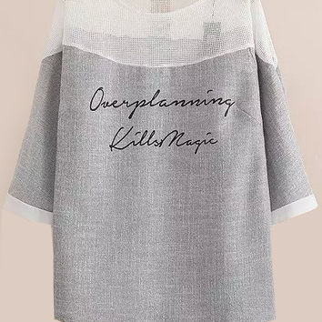 Over Planning Kills Magic Graphic Print Grey Blouse with White Chiffon Neckline