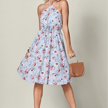 Floral Print Midi Dress in Blue Multi | VENUS
