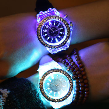 Silicone Diamond rhinestone Watch LED Luminous Colorful Lights Watches Women Ladies Quartz Wrist watch