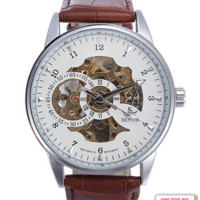 Men's Mechanical Skeleton Leather Wrist Watch