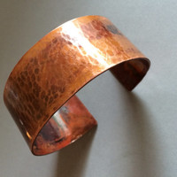 Wide Hammered Copper Cuff Bracelet For Men or Women