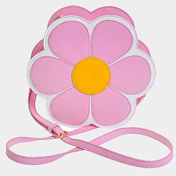 Daisy Flower Emoji Crossbody Bag, Box Purse with Chain - Pink