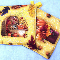 Set of Two Pot Holders featuring Fall Harvest