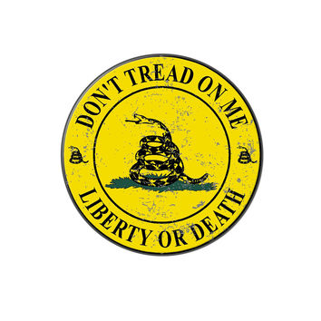 Gadsden - Don't Tread on Me - Liberty or Death - Distressed Circle Lapel Hat Pin Tie Tack Large Round